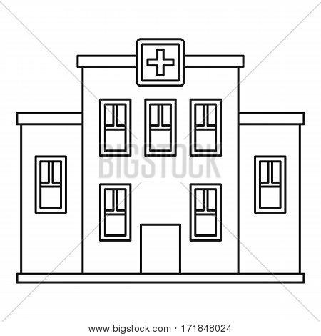 Hospital building icon. Outline illustration of hospital building vector icon for web