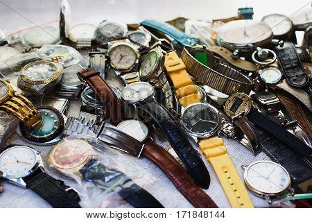 Many wrist watch closeup. Men's Accessories. Men's style. Antiques.
