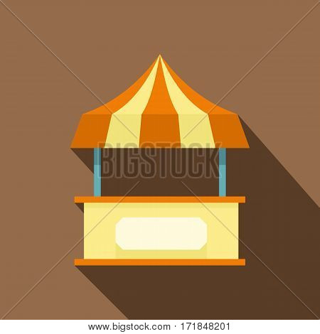 Shopping counter with orange tent icon. Flat illustration of shopping counter with tent vector icon for web isolated on coffee background