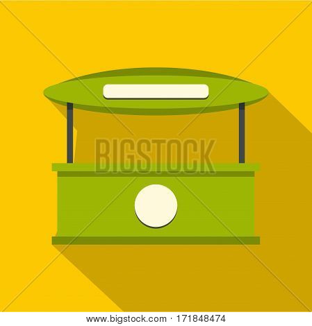 Green tent shop icon. Flat illustration of green tent shop with tent vector icon for web isolated on yellow background