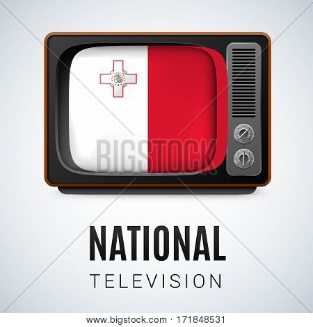 Vintage TV and Flag of Malta as Symbol National Television. Tele Receiver with Maltese flag