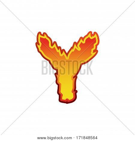 Letter Y Fire. Flames Font Lettering. Tattoo Alphabet Character. Fiery Sign Alphabet