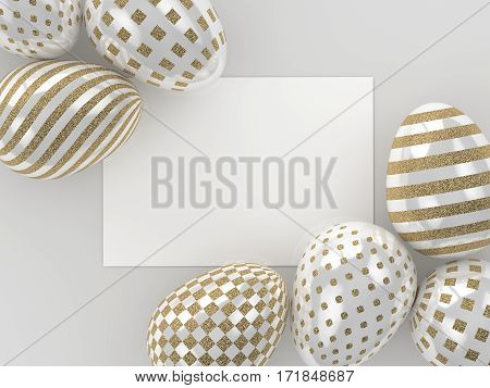 3D Render Of Easter Glitter And Pearl Eggs