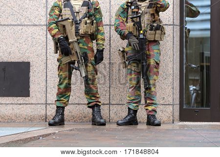 Belgian Soldiers Guard European Institutions Legs