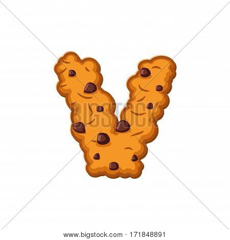 V Letter Cookies. Cookie Font. Oatmeal Biscuit Alphabet Symbol. Food Sign Abc
