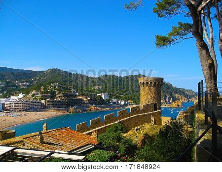 View of Tossa de Mar village from ancient castle Costa Brava Catalunia Spain
