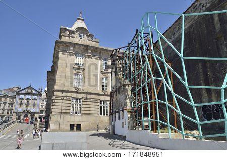 PORTO, PORTUGAL - AUGUST 5, 2015: Metamorfose green metal mesh in the area around San Benito train station in Porto Portugal