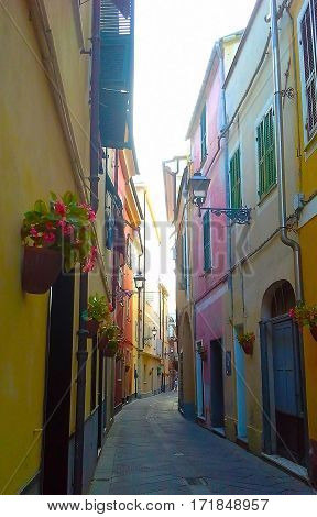 Narrow street with flowers in the old town of Alassio western Liguria. Italy