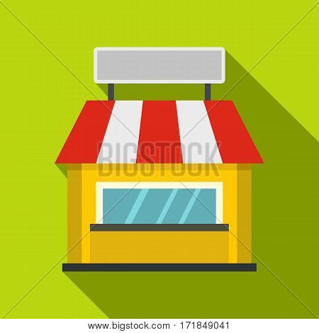 Shop building facade with signboard icon. Flat illustration of shop building facade with signboard vector icon for web isolated on lime background