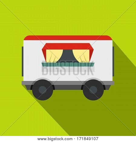 Street food trailer icon. Flat illustration of street food trailer vector icon for web isolated on lime background
