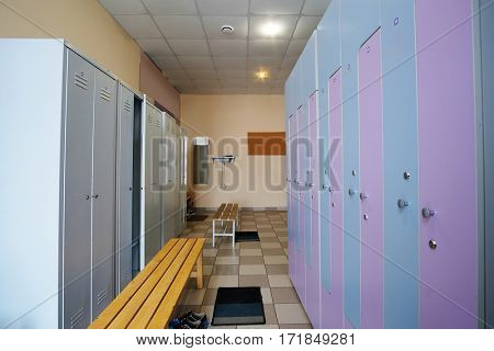 Checkroom in a fitness, swimming pool or so on