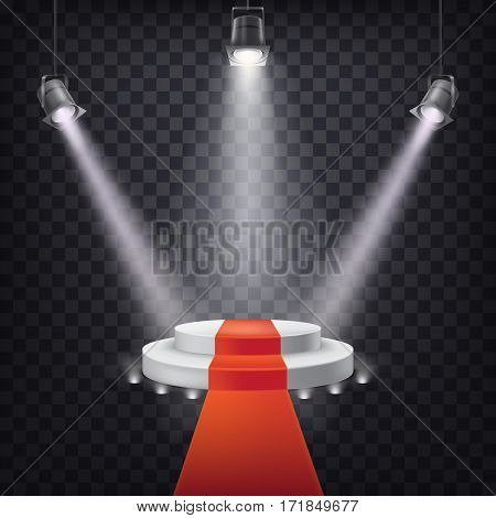 Set of scenic spotlights on a dark background with a podium and red carpet
