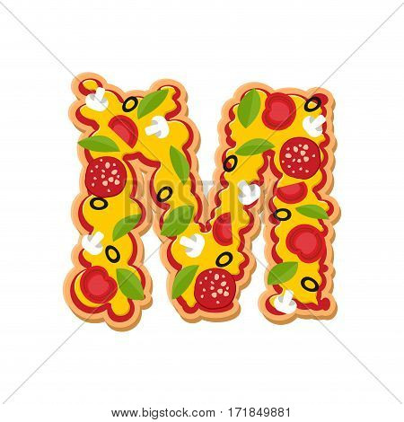 Letter M Pizza Font. Italian Meal Alphabet. Lettring Fast Food