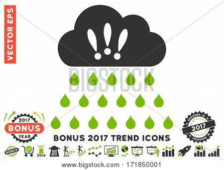 Eco Green And Gray Thunderstorm Rain Cloud pictograph with bonus 2017 trend pictograph collection. Vector illustration style is flat iconic bicolor symbols white background.