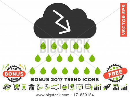 Eco Green And Gray Thunderstorm Rain Cloud pictogram with bonus 2017 trend design elements. Vector illustration style is flat iconic bicolor symbols white background.