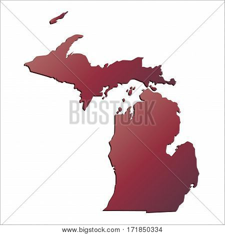 Autumn Gradient Michigan (USA) State map with shadow