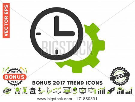 Eco Green And Gray Time Setup Gear pictogram with bonus 2017 trend pictures. Vector illustration style is flat iconic bicolor symbols white background.