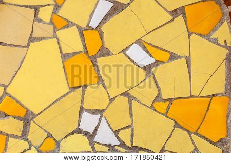 Coloured Mosaic Of Fragments Of Tile And Stone