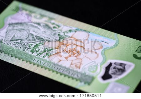 Banknote Five Fijian Dollars On A Dark Background Close Up