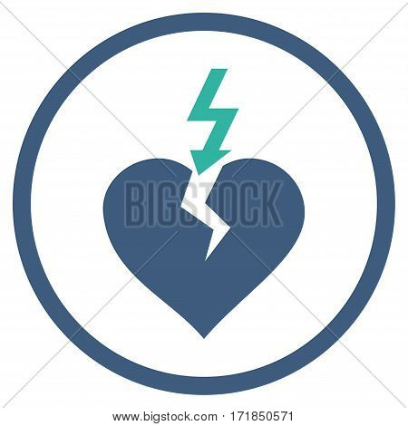 Break Heart rounded icon. Vector illustration style is flat iconic bicolor symbol inside circle cobalt and cyan colors white background.