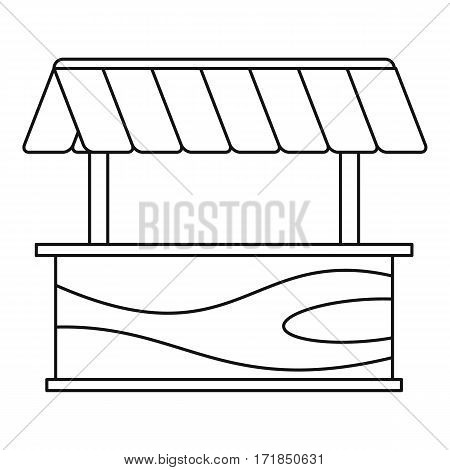 Street stall with awning icon. Outline illustration of street stall with awning vector icon for web