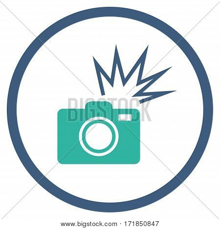 Camera Flash rounded icon. Vector illustration style is flat iconic bicolor symbol inside circle cobalt and cyan colors white background.