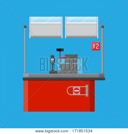 Cashier counter workplace. Cash register, pos terminal and keypad. Vector illustration in flat style