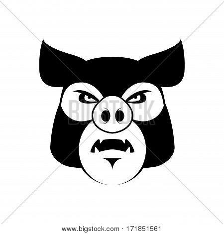 Angry Pig. Evil Boar. Grumpy Hog. Aggressive Piggy