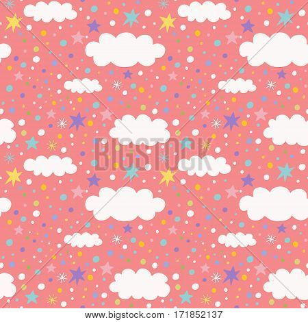Vector seamless pattern with cloud and stars. Children vector illustration.