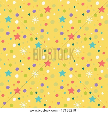 Vector seamless pattern with snowflakes, stars and confetti. Children's illustration.