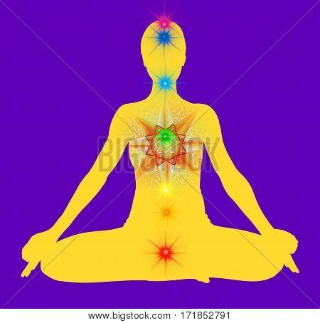 Lotus pose yellow mandala. Padmasana with colored chakra points