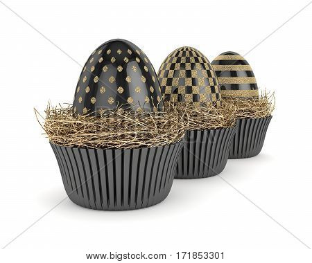 3D Render With Easter Eggs In Muffin Molds