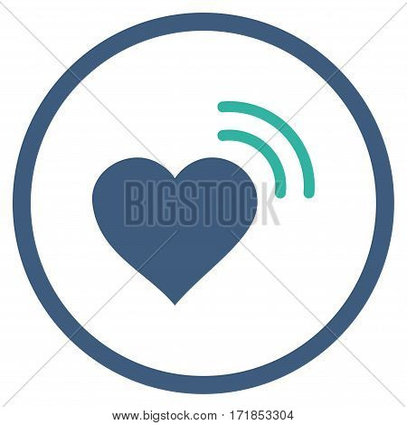 Heart Radio Signal rounded icon. Vector illustration style is flat iconic bicolor symbol inside circle cobalt and cyan colors white background.