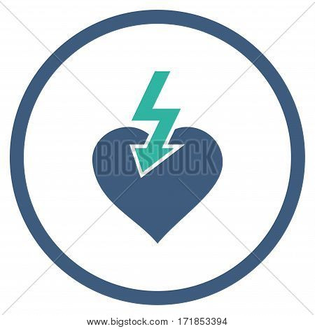 Heart Shock Strike rounded icon. Vector illustration style is flat iconic bicolor symbol inside circle cobalt and cyan colors white background.