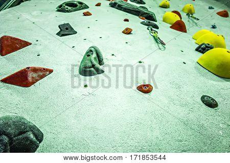 Rock climbing wall at a recreation center