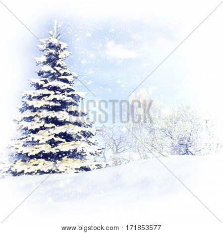 Christmas tree after a snow storm blizzard. 3D illustration