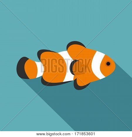 Fish clown icon. Flat illustration of fish clown vector icon for web
