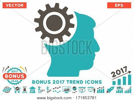 Grey And Cyan Brain Gear pictogram with bonus 2017 trend design elements. Vector illustration style is flat iconic bicolor symbols white background.