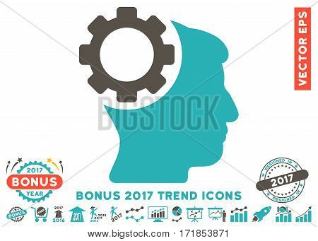 Grey And Cyan Brain Gear pictogram with bonus 2017 year trend design elements. Vector illustration style is flat iconic bicolor symbols white background.