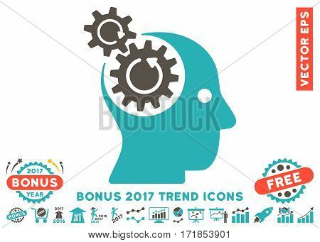 Grey And Cyan Brain Gears Rotation icon with bonus 2017 trend images. Vector illustration style is flat iconic bicolor symbols white background.