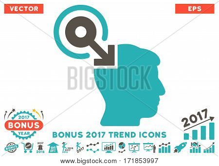 Grey And Cyan Brain Interface Plug-In pictogram with bonus 2017 year trend design elements. Vector illustration style is flat iconic bicolor symbols white background.