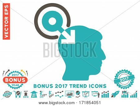 Grey And Cyan Brain Interface Plug-In pictograph with bonus 2017 year trend clip art. Vector illustration style is flat iconic bicolor symbols white background.
