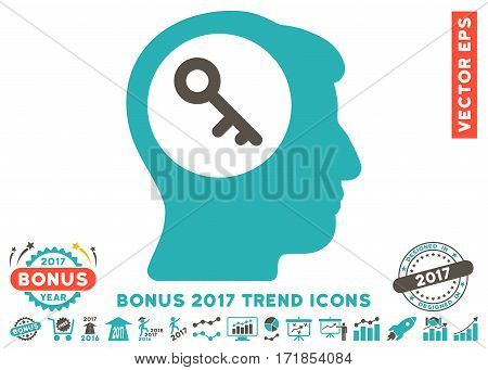 Grey And Cyan Brain Key pictograph with bonus 2017 year trend pictograms. Vector illustration style is flat iconic bicolor symbols white background.