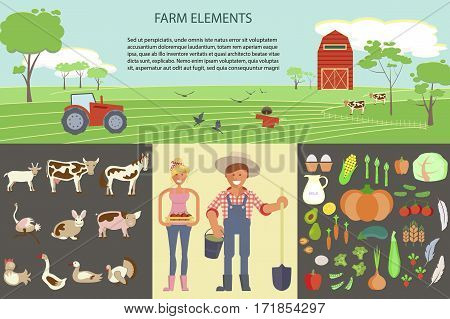 Farming infographic elements with field, farm, tractor, animals and harvest. Farmer man and woman. Modern flat design. eps10 vector illustration
