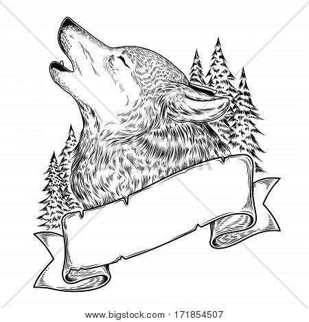 illustration of a howling wolf with ribbon, engraving.