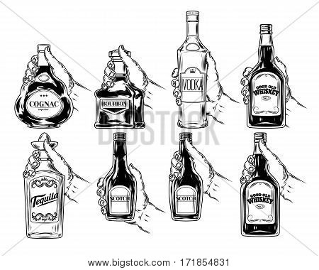 set icons of bottles for alcohol, engraving