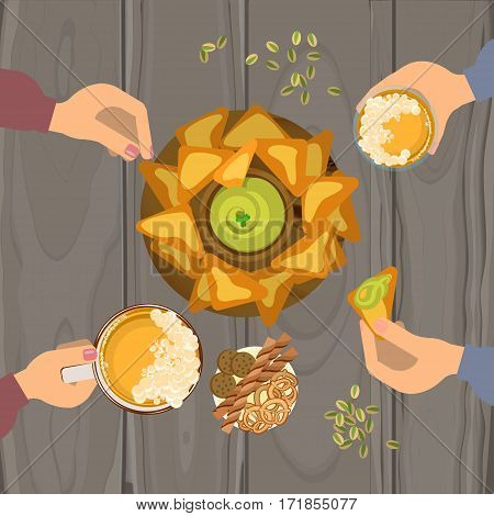 People eating guacamole and nachos and drinking beer on wooden table. Top view Vector illustration eps 10