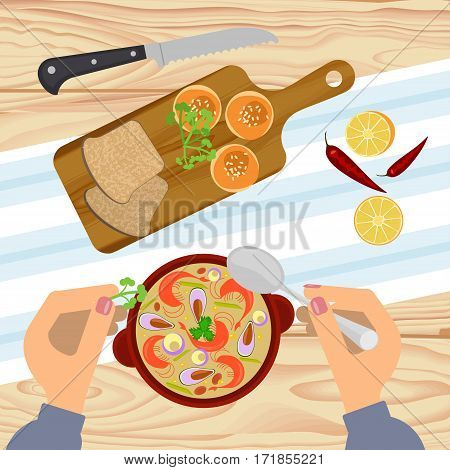 Person is eating clam chowder with bun on wooden table. Top view Vector illustration eps 10