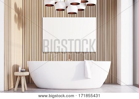 Bathroom With Lamps, Light Wood, Poster