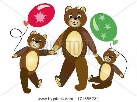 Teddy bear mother with teddy bear children. Cute teddy bears children carrying bals. Sitting teddy bear. Teddy bear group on walk. Children illustration.